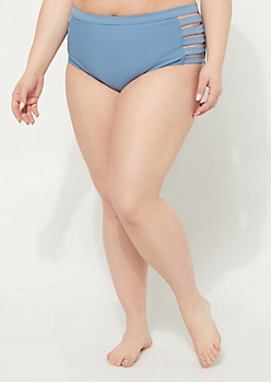 Plus Light Blue Caged High Waist Bikini Bottoms