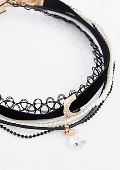 5-Pack Pave Moon Choker Set - Longer Length