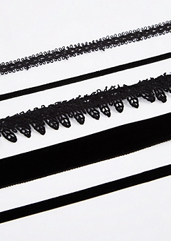 5-Pack Velvet Choker Set - Longer Length