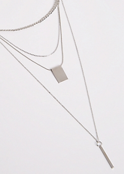 2-Pack Silver Geo Layered Necklace Set - Wider Fit