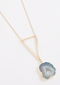 Blue Agate Geo Drop Necklace - Long Length