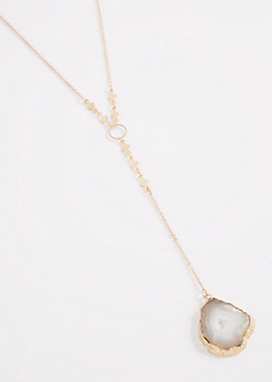 Agate Geode Y-Necklace - Longer Length