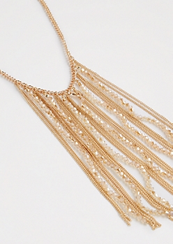 Beaded Fringe Necklace - Longer Length