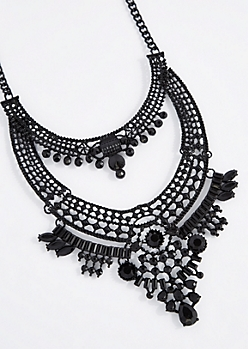 Black Gem Swag Statement Necklace - Longer Length