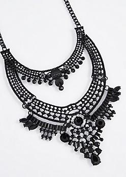 Black Gem Swag Statement Necklace - Longer Length