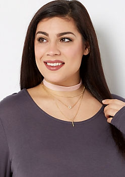 Blush Palette Choker & Necklace Set - Wider Fit