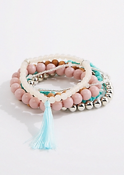 6-Pack Tassel Accent Beaded Bracelets - Wider Fit