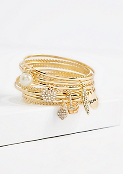 Believe Charm Bangle Set - Wider Fit
