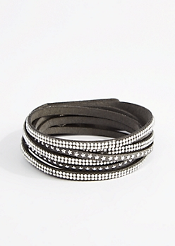 Gray Star & Rhinestone Wrap Bracelet - Wider Fit