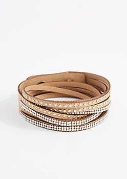Taupe Star & Rhinestone Wrap Bracelet - Wider Fit