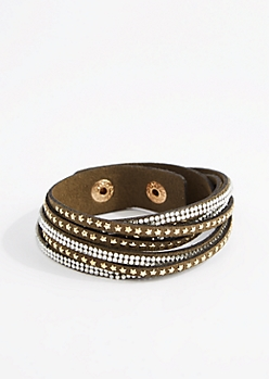 Olive Star & Rhinestone Wrap Bracelet - Wider Fit