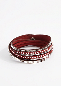 Burgundy Star & Rhinestone Wrap Bracelet - Wider Fit