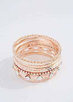 Rose Gold Metal Boho Bangle Set - Wider Fit
