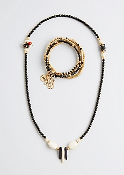 Stone Beaded Jewelry Set - Wider Fit