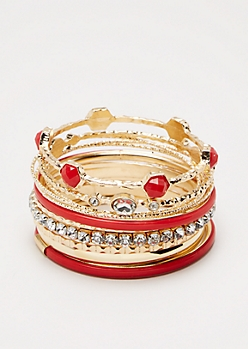 Red Shimmering Stone Bangle Set - Wider Fit