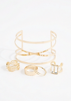 Gold Metal Cuff & Leaf Ring Set - Wider Fit