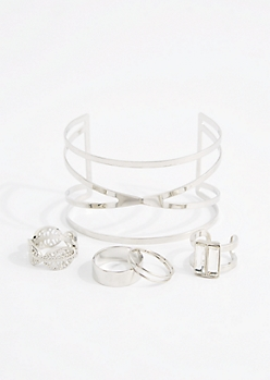 Silver Metal Cuff & Leaf Ring Set - Wider Fit