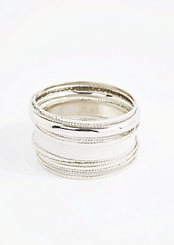 Metallic Gold Diamond Dusted Bangle Set - Wider Fit