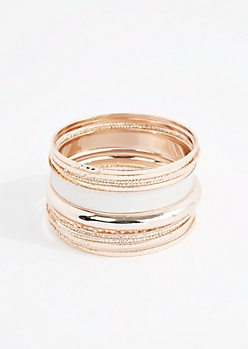 Metallic Silver Diamond Dusted Bangle Set - Wider Fit