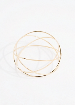 Gold Metallic Woven Bangle - Wider Fit