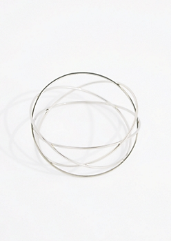 Silver Metallic Woven Bangle - Wider Fit