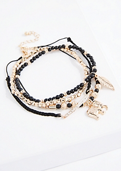 Black Boho Elephant Bracelet Set - Wider Fit