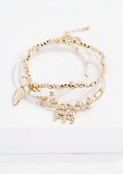 Ivory Boho Elephant Bracelet Set - Wider Fit