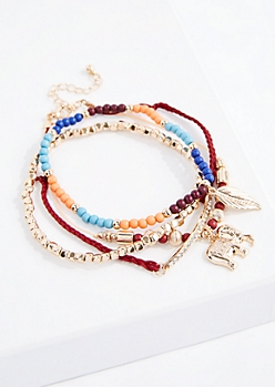 Tonal Boho Elephant Bracelet Set - Wider Fit