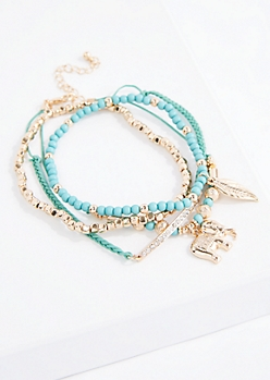 Turquoise Boho Elephant Bracelet Set - Wider Fit