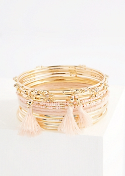 12-Pack Pink Tassel Bangle Set - Wider Fit
