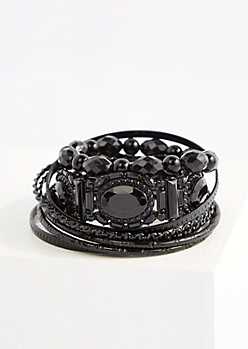 8-Pack Black Gem Bangle Set - Wider Fit