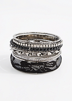 8-Pack Black Lace Cuff Bangle Set - Wider Fit