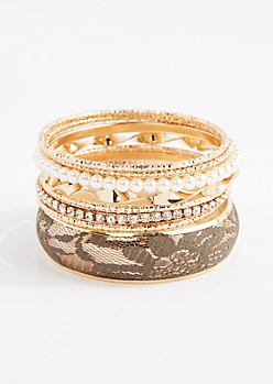 8-Pack Olive Lace Cuff Bangle Set - Wider Fit