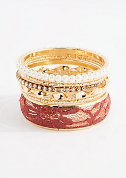 8-Pack Pink Lace Cuff Bangle Set - Wider Fit