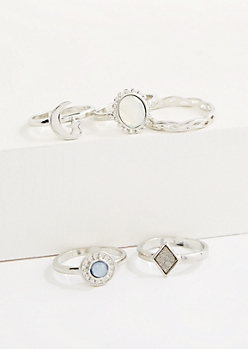 5-Pack Celestial Sparkle Ring Set - Wider Fit
