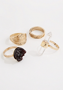 4-Pack Mystic Vibes Ring Set - Wider Fit