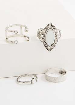 4-Pack Tribal Shield Ring Set - Wider Fit
