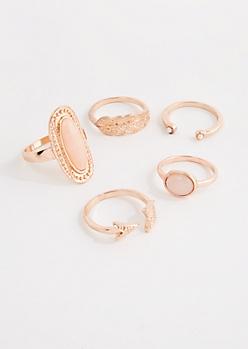5-Pack Boho Rose Gold Ring Set - Wider Fit