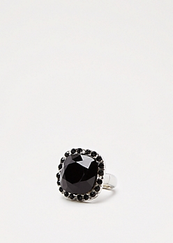 Black Gem Cocktail Ring -Wider Fit