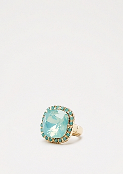 Mint Gem Cocktail Ring -Wider Fit
