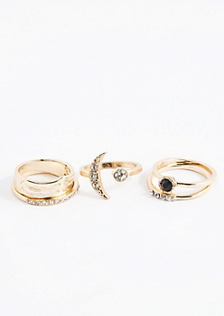 Diamante Crescent Moon Ring Set - Wider Fit