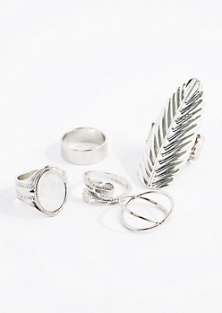 Embossed Leaf Shield Ring Set - Wider Fit