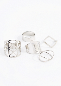 Geo Barrel Ring Set - Wider Fit