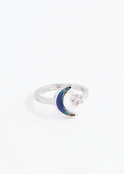 Silver Crescent Mood Ring - Wider Fit