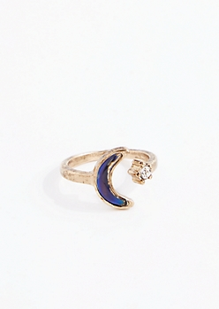 Antique Gold Crescent Mood Ring - Wider Fit