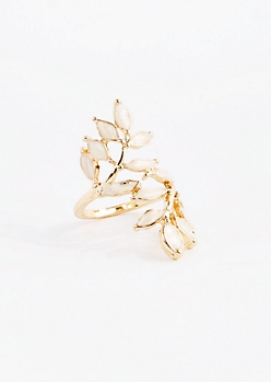 Stone Leaf Wrap Ring - Wider Fit