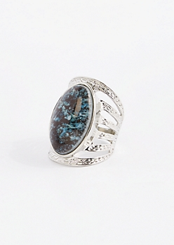Marled Stone Caged Ring - Wider Fit