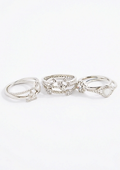 7-Pack Crystal Midi Ring Set - Wider Fit