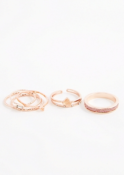6-Pack Diamond Dust Ring Set - Wider Fit