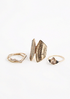 5-Pack Tribal Antique Ring Set -Wider Fit